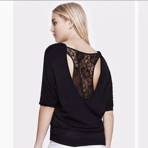Express lace back sweater, size M.